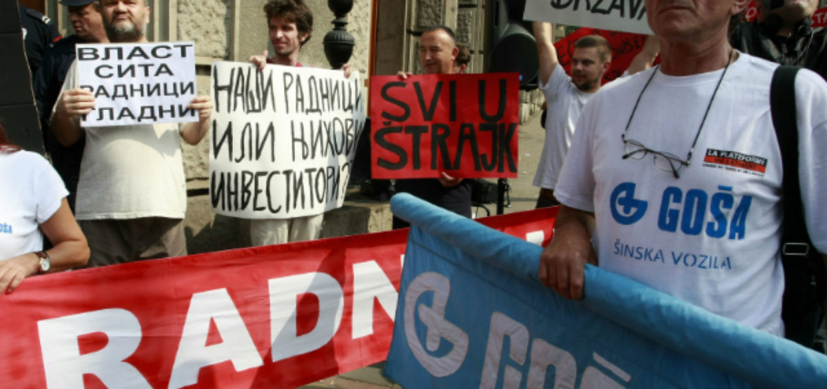 Gosa workers protesting in Belgrade. Photo: Beta