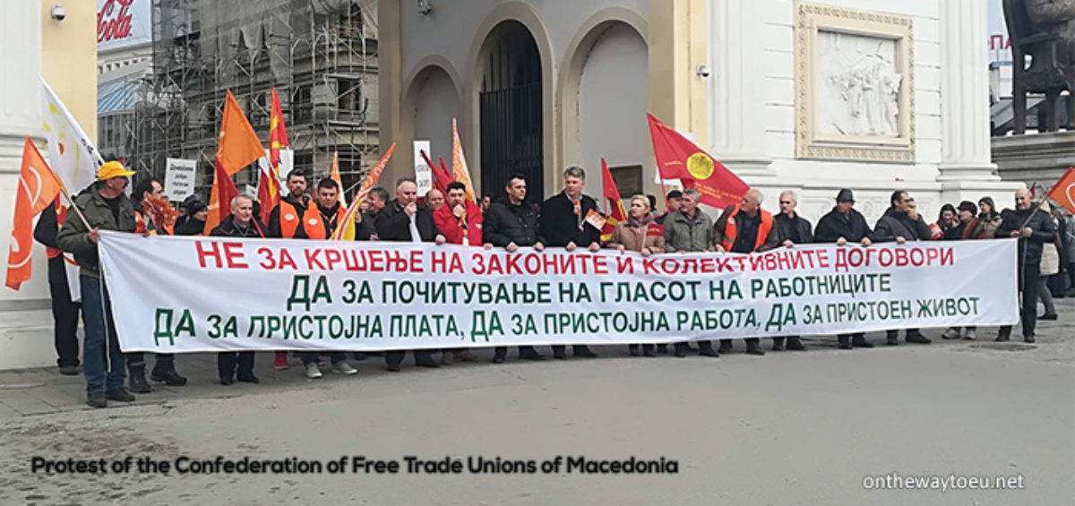 Protest of the Confederation of Free Trade Unions of Macedonia