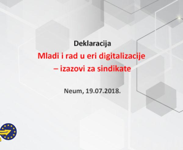 """Deklaracija """"Mladi i rad u eri digitalizacije – izazovi za sindikate"""" – Neum, 19.07.2018."""